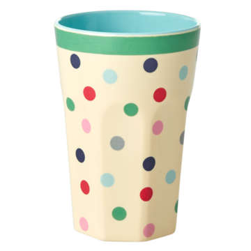 Rice DK Melamine Two Tone Latte Cup with 'Lipstick' Dots