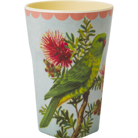 Rice DK Melamine Two Tone Latte Cup with Vintage Parakeet Print