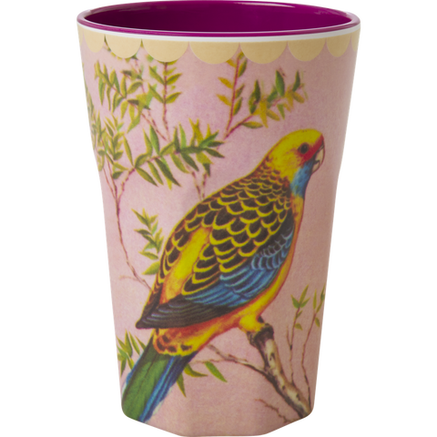 Rice DK Melamine Two-Tone Latte Cup with Vintage Budgie Print