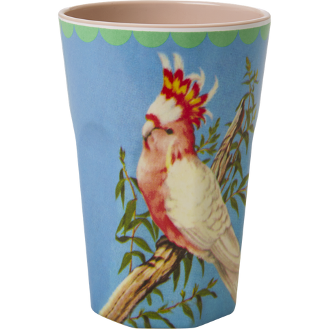 Rice DK Melamine Two Tone Latte Cup with Vintage Cockatoo Print