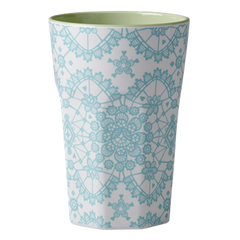Rice Dk | Melamine Two Tone Mint Lace Print Latte Cup