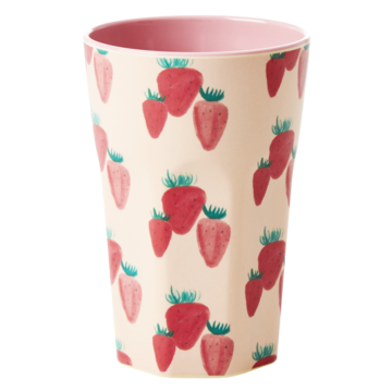 Rice DK Melamine Tall Strawberry Print Cup