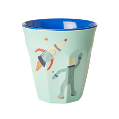 Rice DK 'Blue Space' Two Tone Melamine Cup