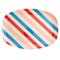 Rice DK Candy Stripe Two Tone Melamine Rectangular Plate