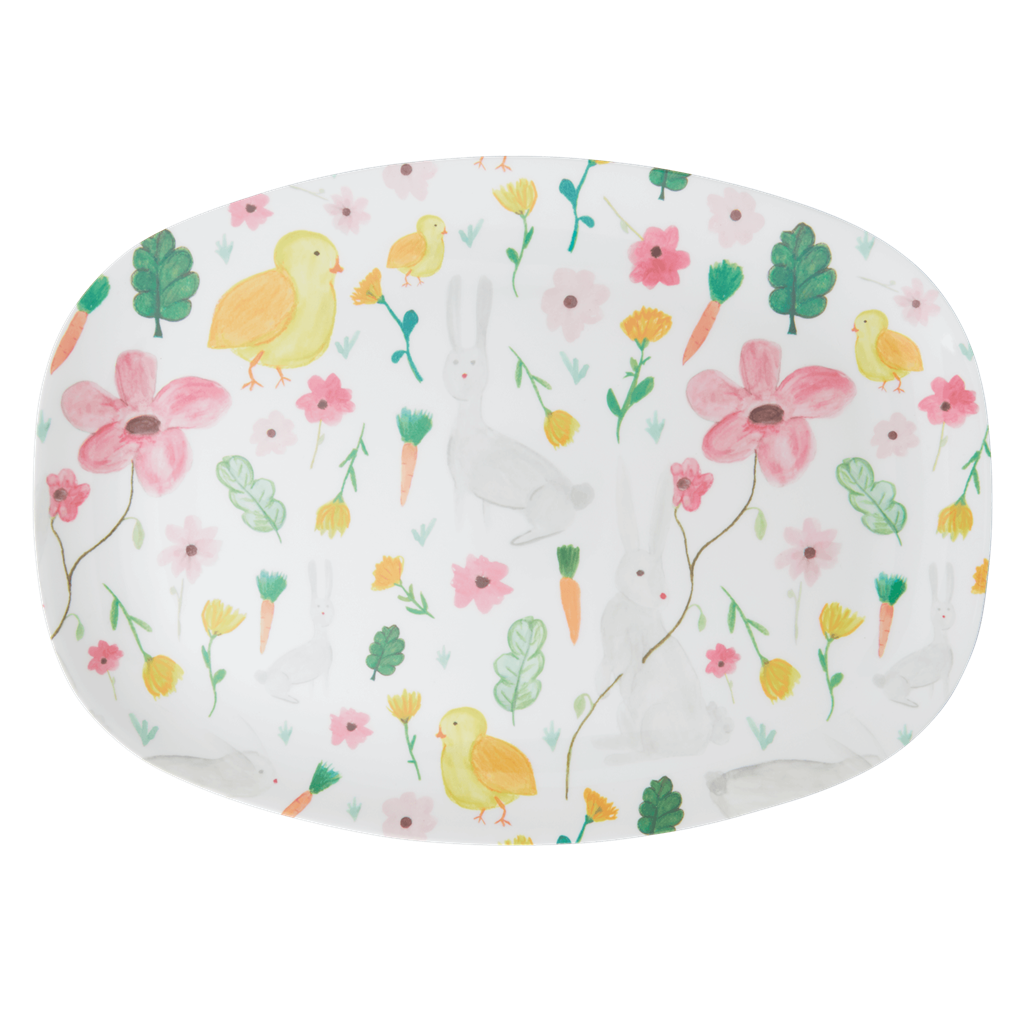 Rice DK White Easter Two Tone Melamine Rectangular Plate