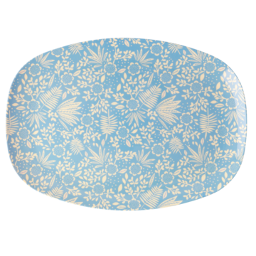 Rice Dk | Rectangular Melamine Plate with Blue Fern Print