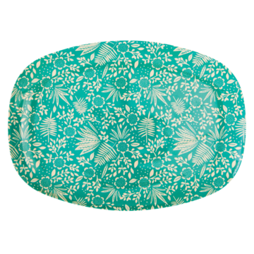 Rice Dk | Rectangular Melamine Plate with Blue Fern and Flower Print