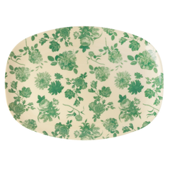 Rice Dk | Rectangular Melamine Plate with Green Rose Print