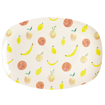 Rice DK | Two-Tone Melamine Rectangular Plate Happy Fruit print