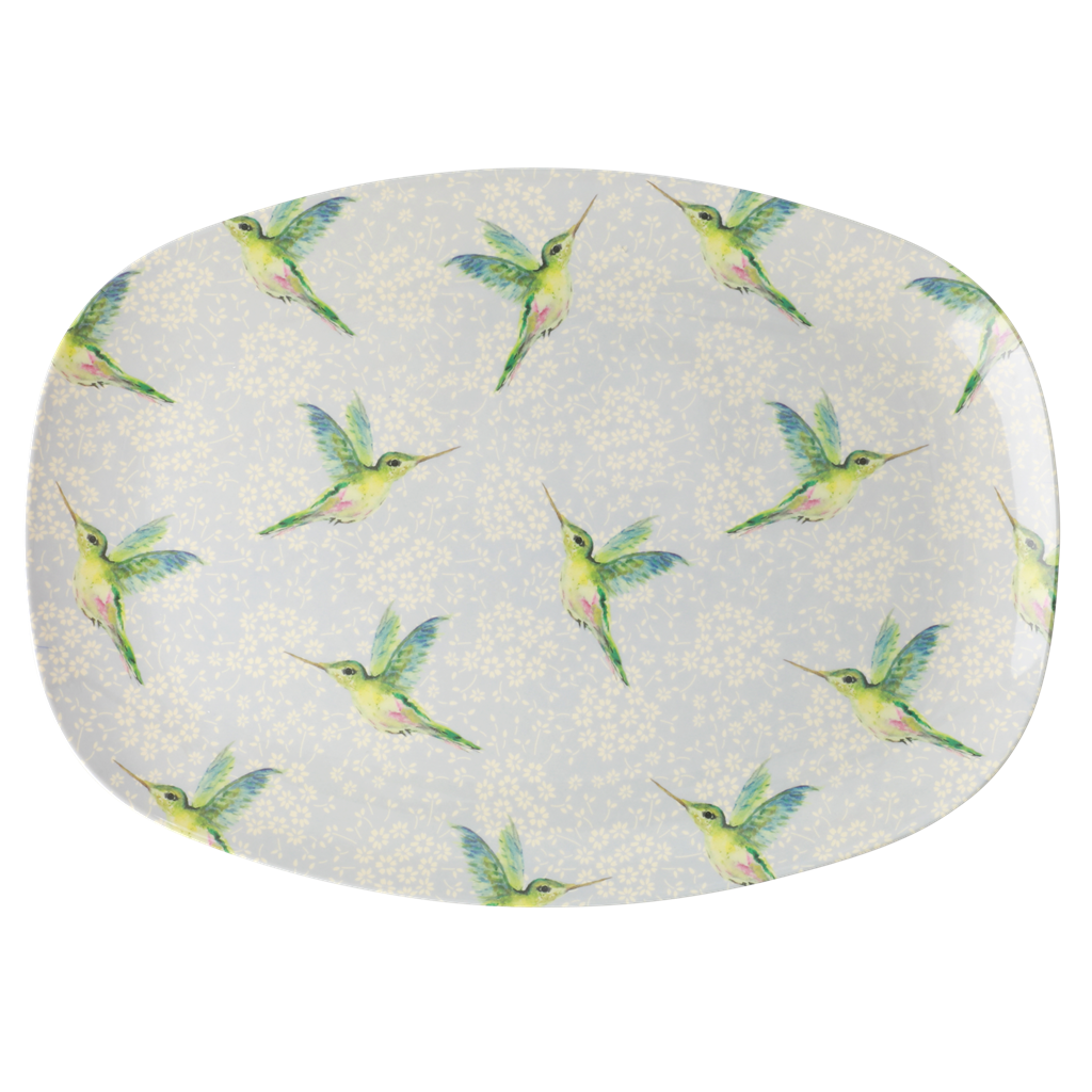 Rice DK Hummingbird Print Two Tone Rectangular Plate