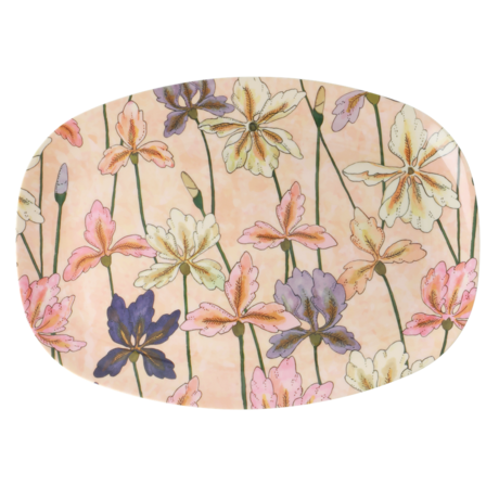 Rice Dk | Rectangular Melamine Plate with Iris Print