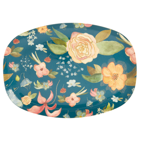 Rice DK | Two-Tone Melamine Rectangular Plate Selmas Fall print