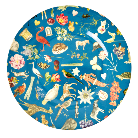 Rice DK Blue Art Print Two Tone Melamine Dinner Plate - JOËLLE WEHKAMP