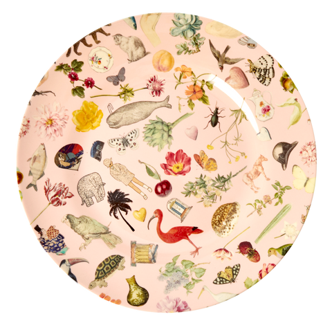 Rice DK Pink Art Print Two Tone Melamine Dinner Plate - JOËLLE WEHKAMP