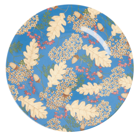 Rice DK Two Tone Melamine Dinner Plate - Autumn and Acorns Print