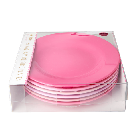 Rice DK | Melamine Set of 6 Lunch Plates in `50 shades of Pink' Colors