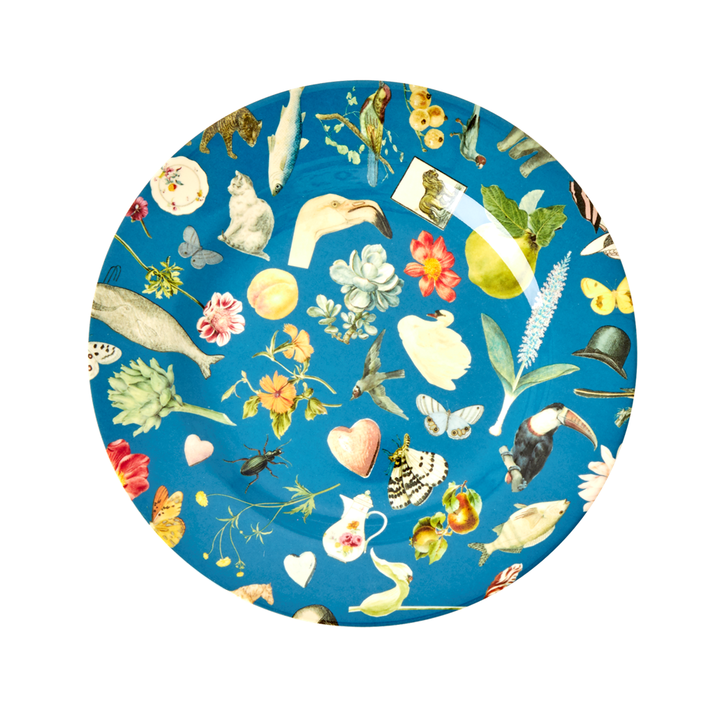 Rice DK Blue Art Print Two Tone Melamine Lunch Plate - JOËLLE WEHKAMP