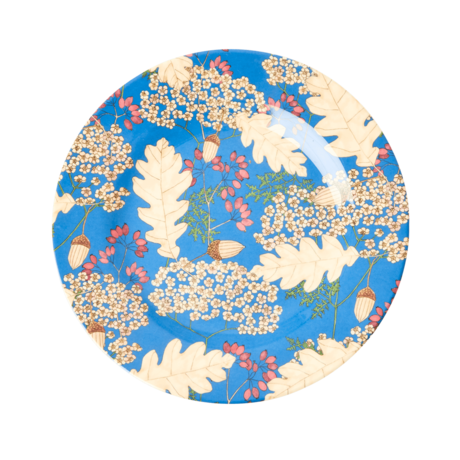 Rice DK Two Tone Melamine Lunch Plate - Autumn and Acorns Print