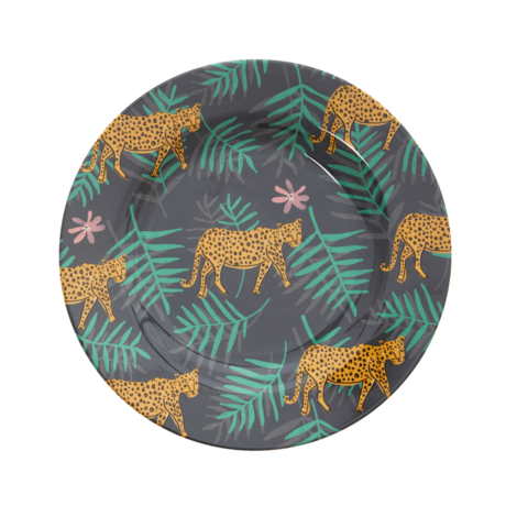 Rice DK Fall Leopard and Leaves Print Side Plate