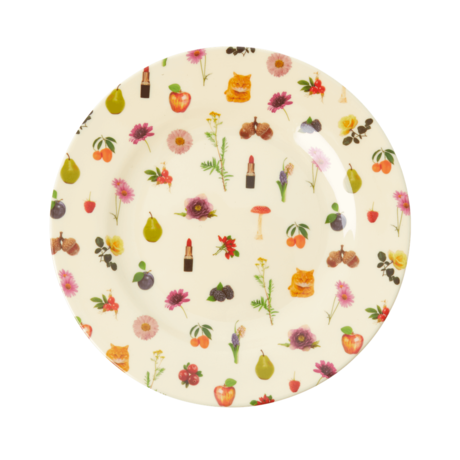 Rice DK Lipstick Art Print Two Tone Melamine Lunch Plate