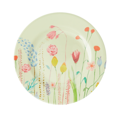 Rice DK Candy Summer Flowers in Sage Green Two Tone Melamine Lunch Plate