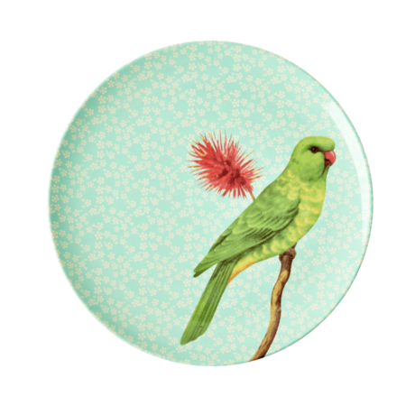 Rice DK Melamine Side Plate Green Vintage Bird Parrot