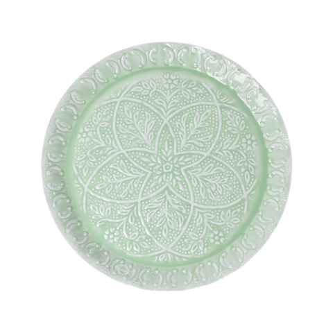 Rice Dk | Metal Round Tray in Sage Green with Embossed Detail
