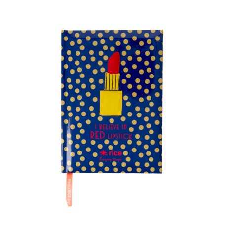 NOTEBOOKS WITH DOTTED PAGES - DARK BLUE WITH GOLD DOTS AND LIPSTICK - SIZE A5