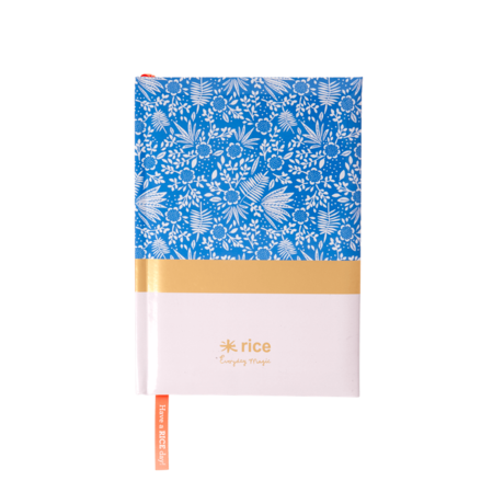 Rice DK NOTEBOOKS WITH BLUE FERN AND FLOWER - SIZE A5