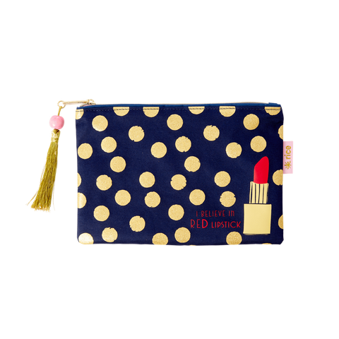 Rice DK Flat Pencil Case Gold Dots and Lipstick