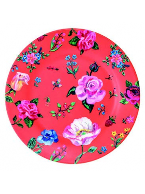Petit Jour Orange Dinner Melamine Plate Flower Print