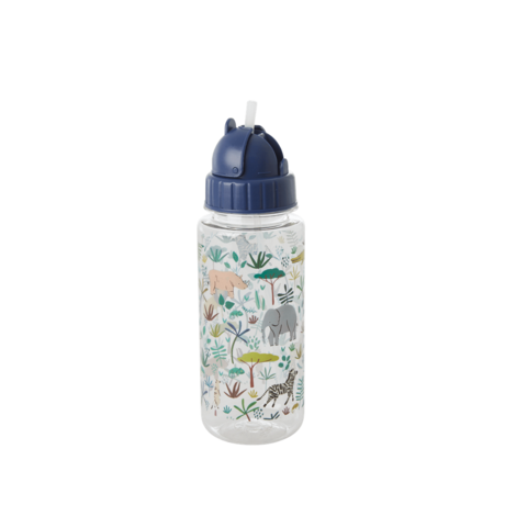 Rice DK PLASTIC DRINKING BOTTLE WITH JUNGLE ANIMALS PRINT - GREEN