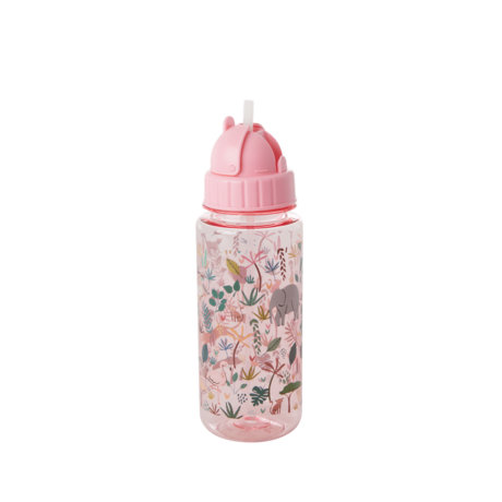 Rice DK PLASTIC DRINKING BOTTLE WITH JUNGLE ANIMALS PRINT - PINK