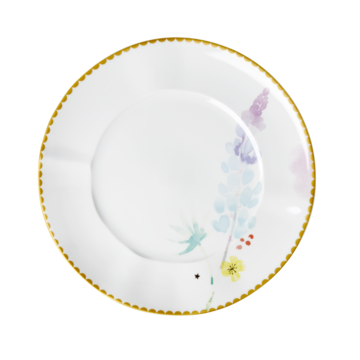 Rice DK | PORCELAIN LUNCH & CAKE PLATE BLUE LUPIN PRINT