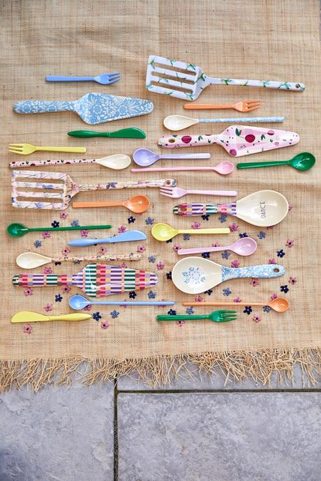 Rice DK 6 Melamine Long Spoons 'Let's Summer Colors'