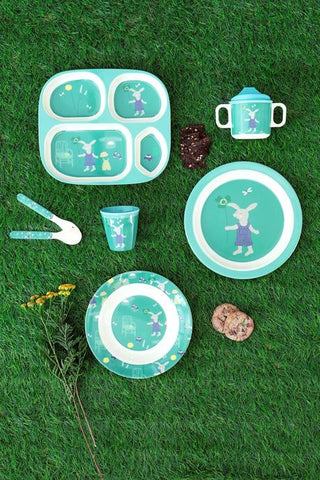 Rice DK Green Bunny Print Plate