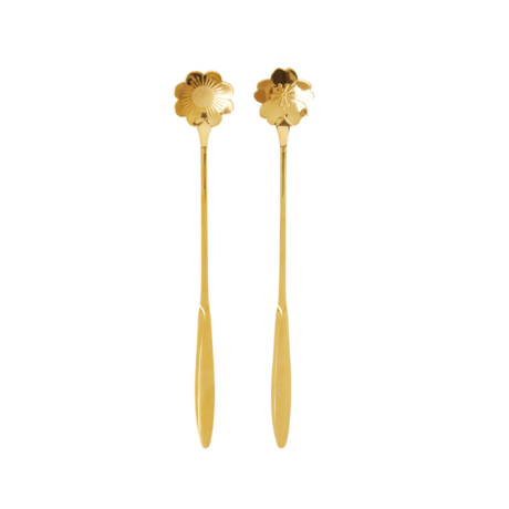 Rice DK | Set of 2 STAINLESS STEEL LONG SPOONS IN ASSORTED FLOWER SHAPES