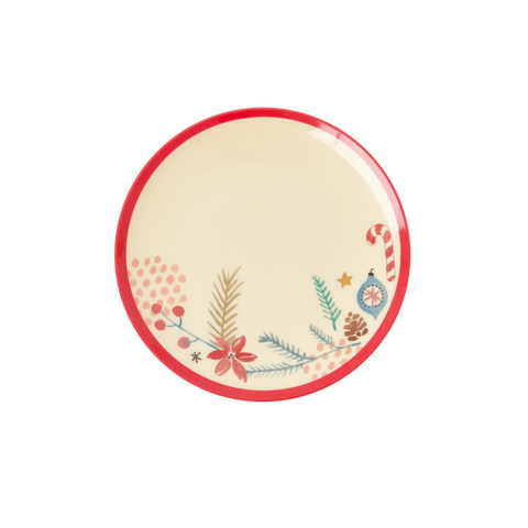 Rice DK Melamine Desert plates with Christmas Ornaments