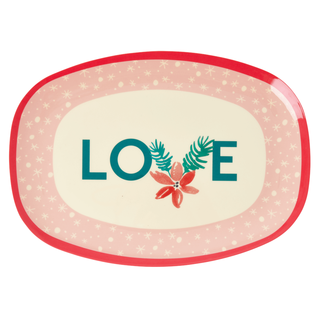 Rice Dk | Rectangular Melamine Plate with Love Christmas Print
