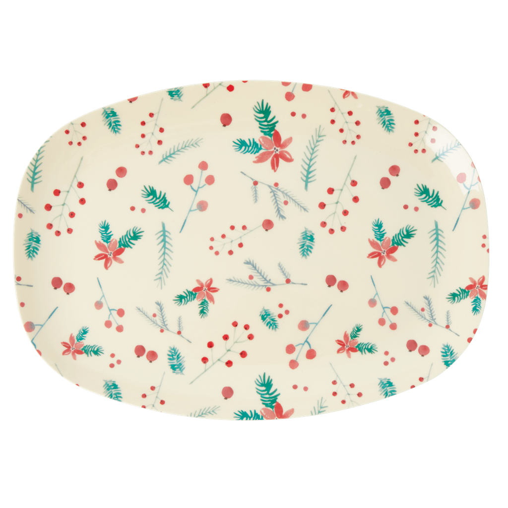 Rice Dk | Rectangular Melamine Plate with Poinsettia Christmas Print