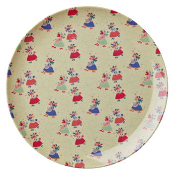 Rice Dk | X-mas Melamine Side Plate with Couples Skating Print