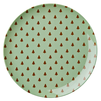Rice Dk | X-mas Melamine Side Plate with Mini Christmas Trees Print