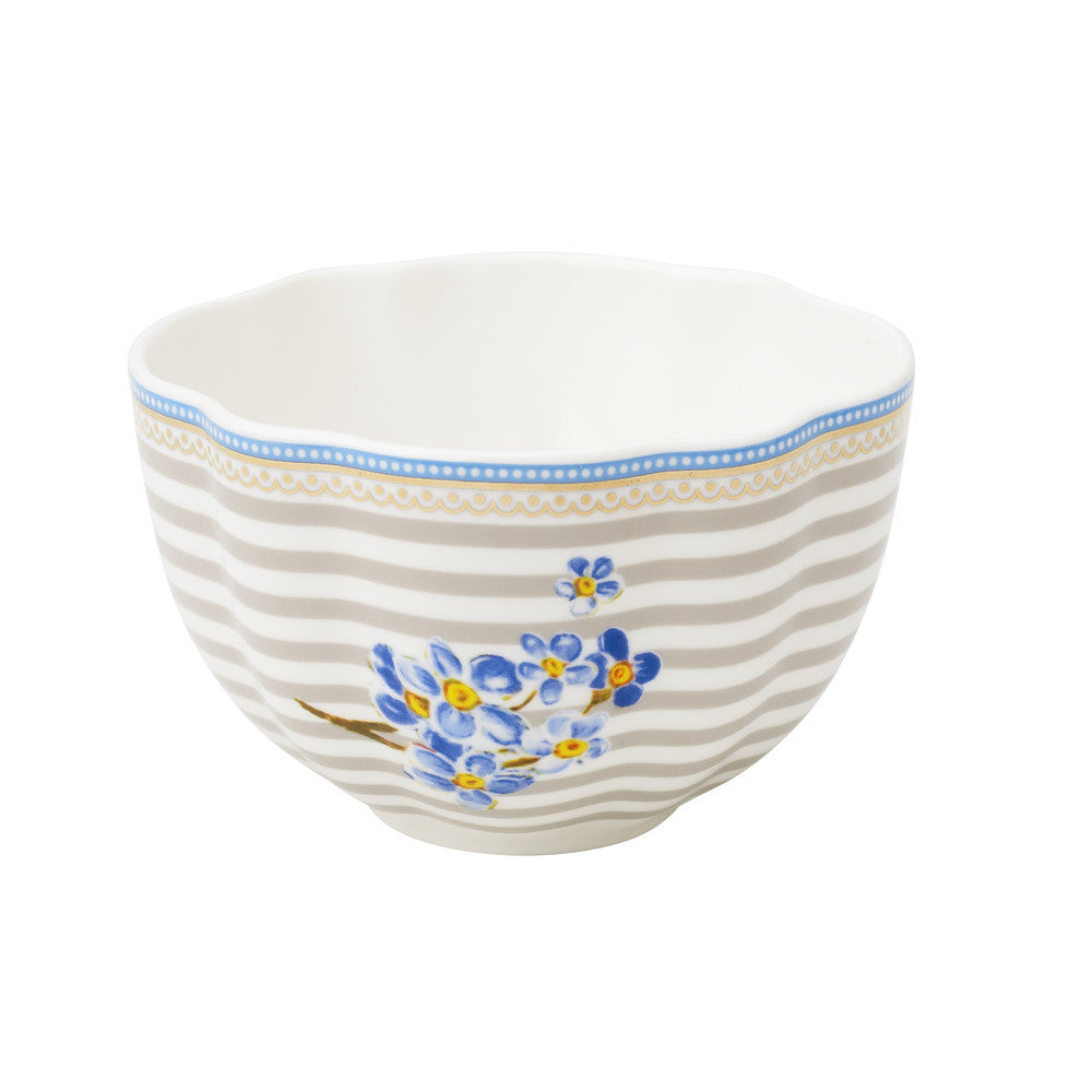 Lisbeth Dahl | Small Flower and Stripes Porcelain Bowl
