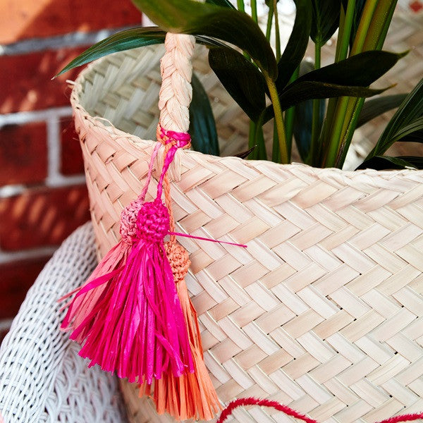 Rice Dk | Raffia Beach Bag with Today is Fun Embroidery and Assorted Tassels