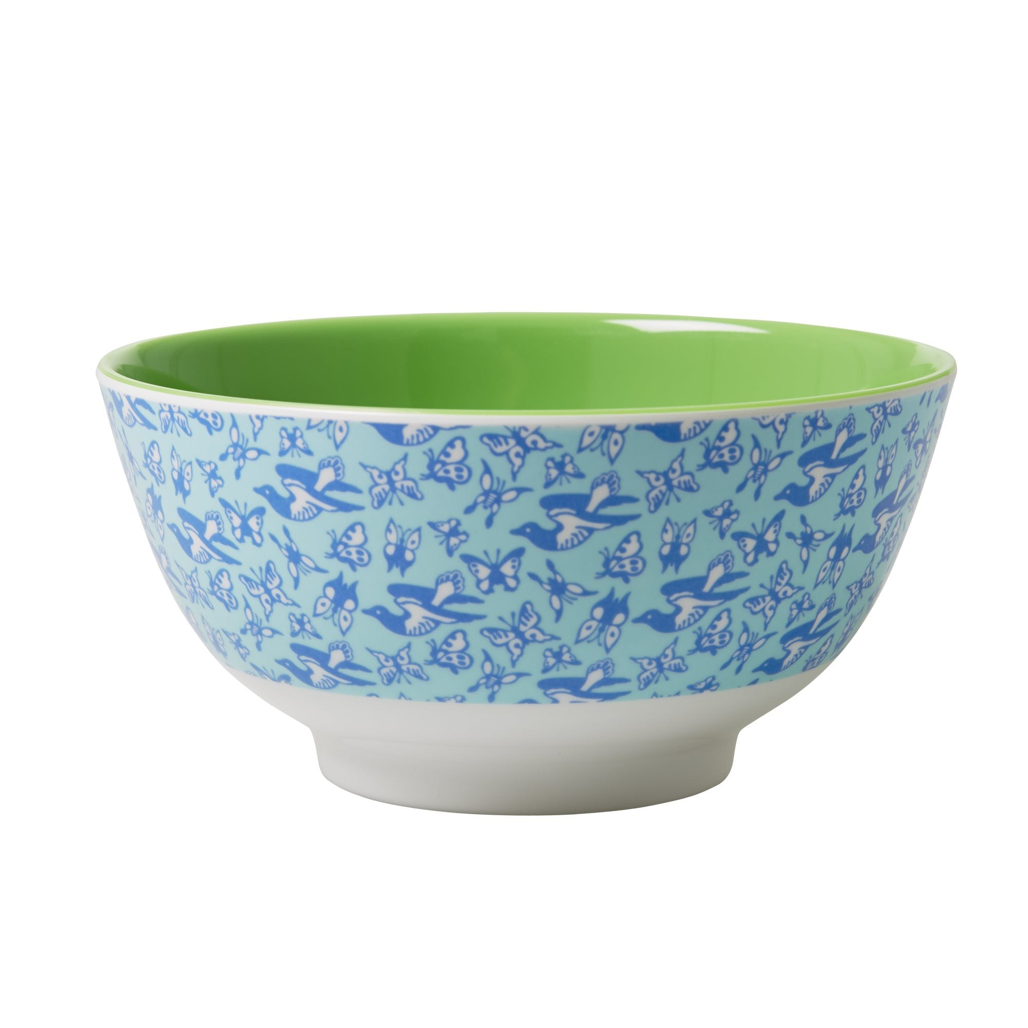 Rice DK Melamine Bowl Two Tone Bird & Butterflies Print