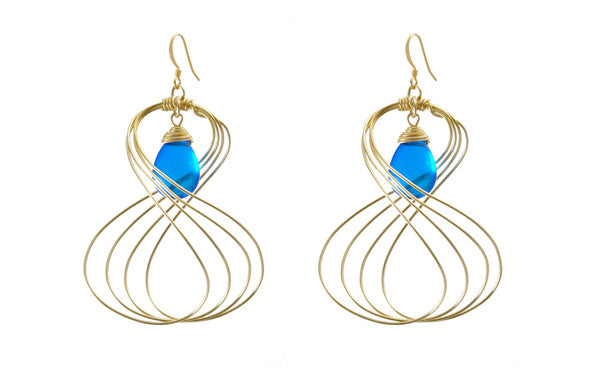 Susan Hanover Designs Wired Earrings with Blue Stone