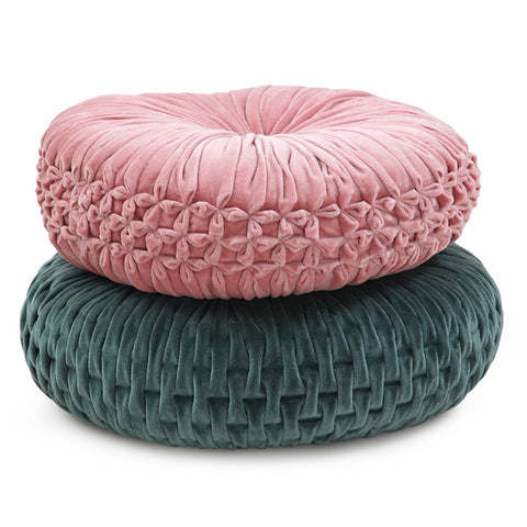 Velvet Evergreen Round Cushion