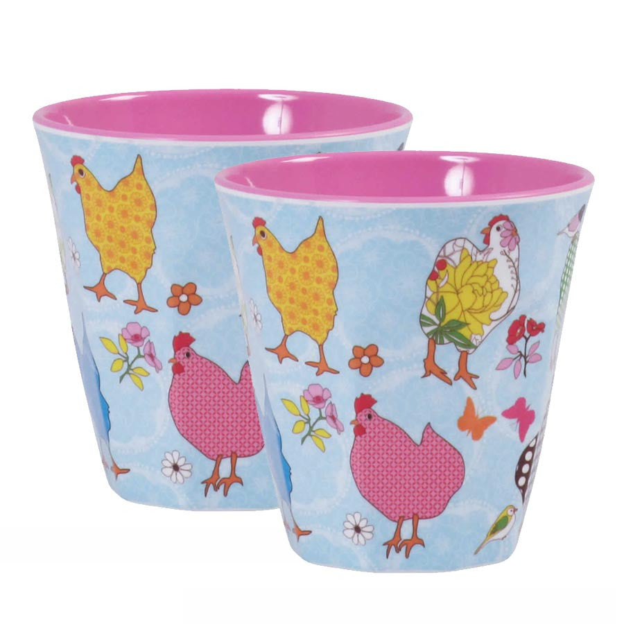 Rice DK Melamine Cups | Set of 2 Turquoise Hens