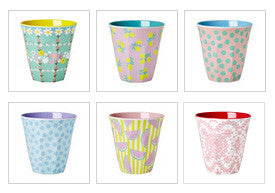 Rice DK Two Tone Melamine Cup Retro Flowers Print