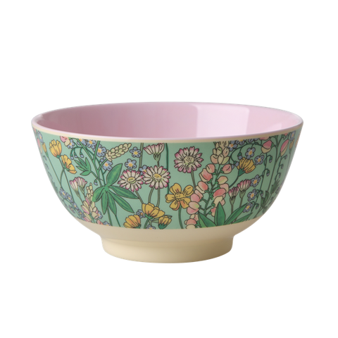 Rice DK | Two-Tone Melamine Bowl with Lupin Print